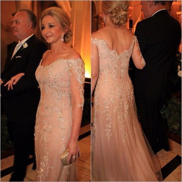 Classic Off der Schulter Mutter der Braut Kleider Halbarm Hochzeit Gast Party Kleid Formelle Gelegenheit Kleid Plus Größe