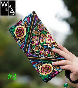 Wallike Vintage Embroidery Purse Exquisite Handmade Embroidered Women Long Wallet Linen Party Day Clutch Handbag National Floral