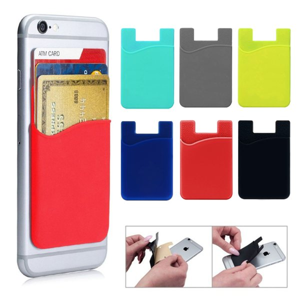 For iPhone Samsung Huawei LG Sony Cell Phone 3M Adhesive Silicone Back Case Cover Wallet Credit Card Holder Pouch Sleeve Pocket Bag