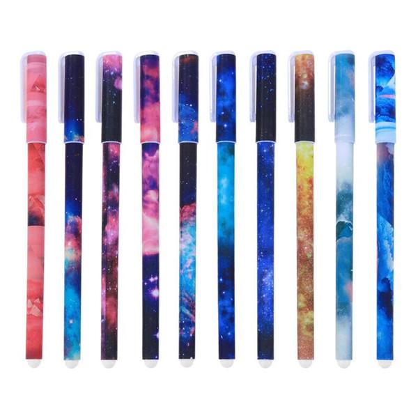 10 pezzi / lotto Penne Sky stellato set 10 penne a sfera con inchiostro a colori per cartoleria da scrittura firmata per ufficio