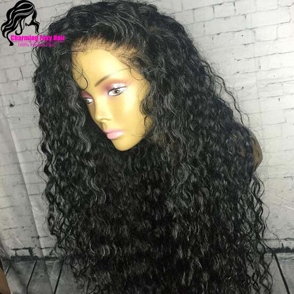 Long loose Curly Wigs with Baby Hair Black Color Full Density Synthetic Lace Front Wig for Women Free Shipping