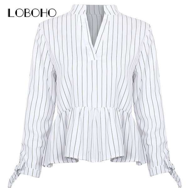 New Arrival Peplum Tops Women Blouses 2018 Autumn Lace Up Black And White Striped Shirt Casual Ruffle V Neck Long Sleeve Blouse D18103104