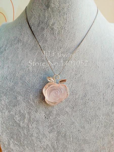 Colgante de plata esterlina 925 de Lii Ji con flor de cuarzo rosa natural