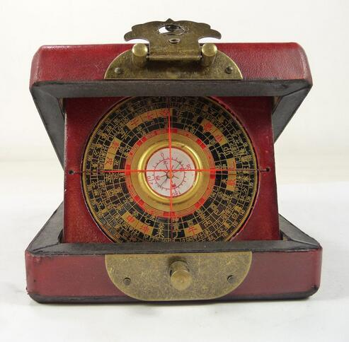 handwork old china wood usable compass with box paint dragon phoenix Box