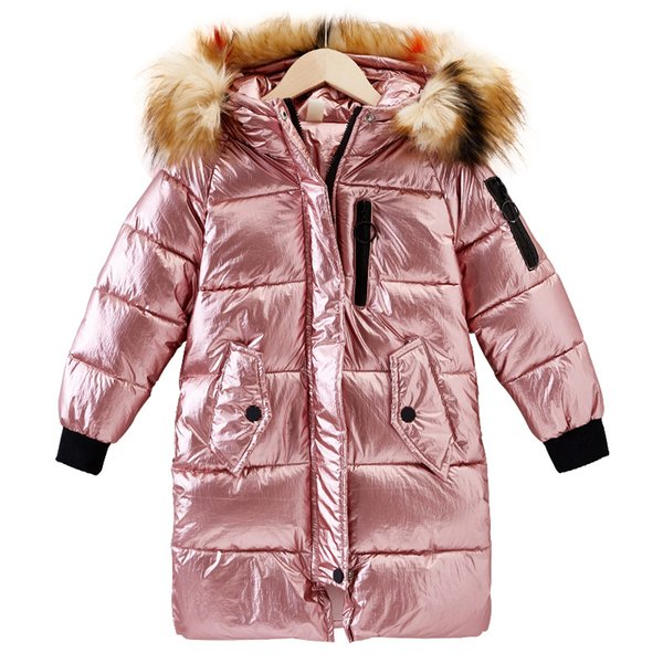 Girls pearlite layer Jackets 2018 Children Winter Clothes Girl Coats Warm Fur Collar Hooded long down Coats For Kids Outerwear
