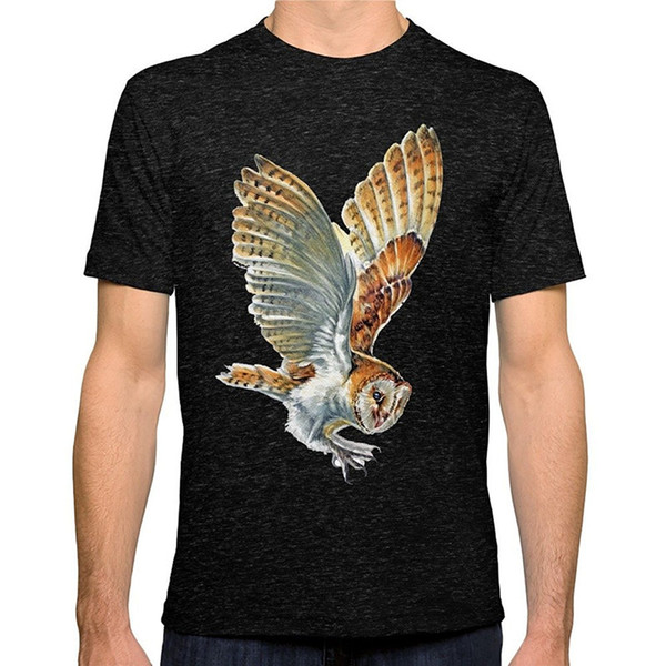 Shirt Printing Online O-Neck Short Sleeve Fashion 2018 Mens Barn Owl Landing Tees