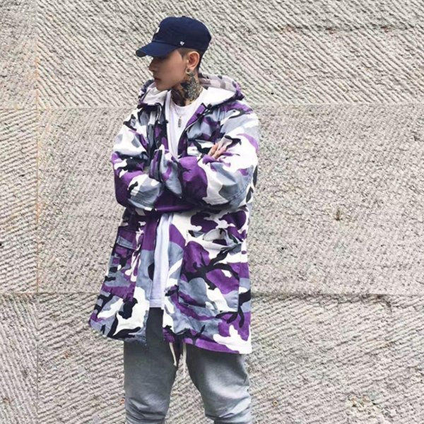47b865595fe24 New Autumn Winter High Street Purple Camo Long Trench Coat Men's Fashion  Outerwear Camouflage Jacket