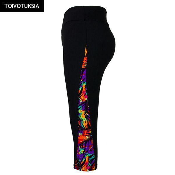 TOIVOTUKSIA Running Tights Female Printed Leggings for Women Leggins Sportswear Velvet Sport Fitness Pants Walking Trousers