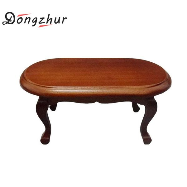 Dongzhur 1:12 Doll House Coffee Table Dollhouse Miniature Decoration Table fashion Living Room Furniture Wooden Red