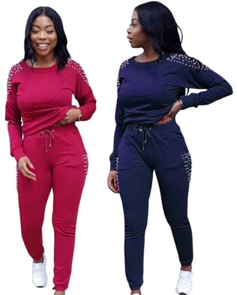 Women Hoodie Two Piece Set Outfits Pearl Leggings Sweatshirt Tracksuit Sports Sweat pants shirts Joggers Sportswear Women Designer Clothes