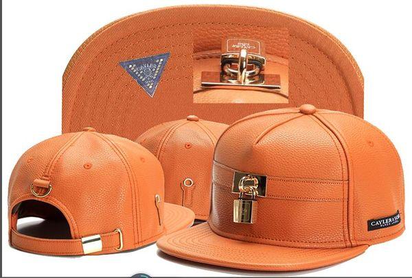 2018 Swag marca Cayler Sons cuero marrón Snapback hip hop gorra deportiva gorra de béisbol para hombre mujer huesos hueso hueso gorras alta calidad