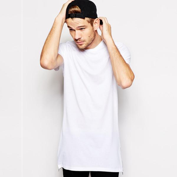 cotton 100% hip hop side zipper long t shirt fashion design longline t-shirt men tall tshirt top tees
