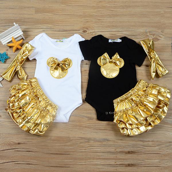 INS yeni bebek yaz romper 3 parça setleri kısa kollu O-Boyun küçük fare baskı romper + kısa + kafa kız yaz giyim setleri 0-2 T