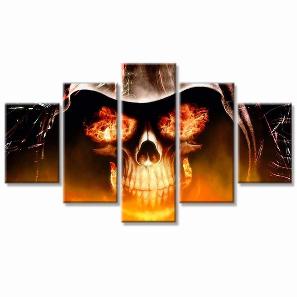 Large Poster Halloween Day Skull Canvas Wall Art Abstract Black and White Print Home Decor for Living Room Contemporary Pictures Y18102209