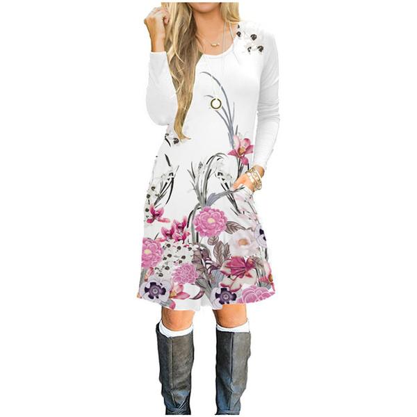 plus Größenfrauen Chiffon übersteigt langärmliges Kleid der Frauen 100% Baumwolle 3D gedrucktes Kleid, Mädchenart und weise heiße T-Shirt Rockbodysuitbadebekleidung