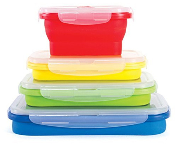 20pcs Folding Silicone Lunch Box Food Storage Container Kitchen Microwave Tableware Portable Household Outdoor Food box