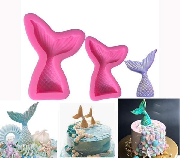gelatine antiaderenti per cioccolatini cupcake Stampi in silicone a forma di coda di sirena 2 pezzi caramelle