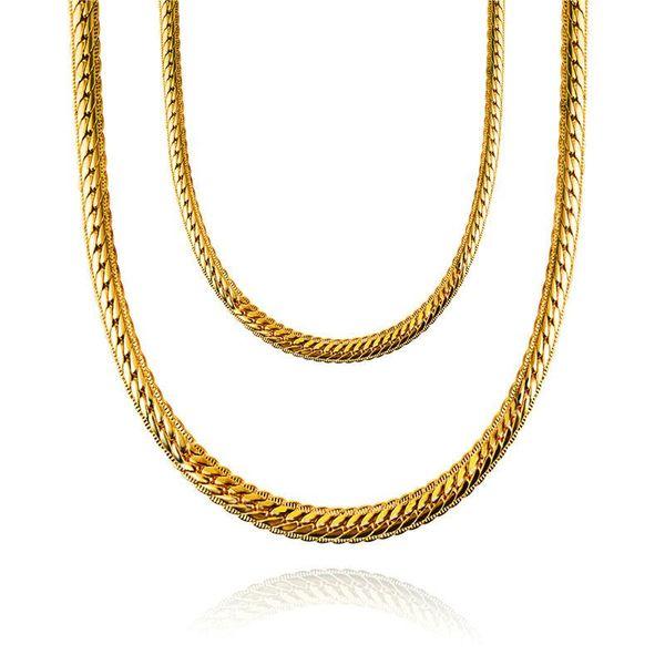 2018 nouvelles Chaînes Colliers Hip Hop Mode 75 cm Long Collier Or Serpent Chaîne 7mm Large Pour Hommes Femmes Bijoux