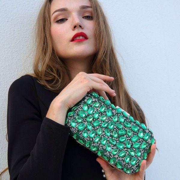 Luxus Frauen Abend Clutch Bags Emerald Jewelry Clutch Taschen GEM Perlen Grün Clutches Lady Hochzeit Bankett Geldbörsen