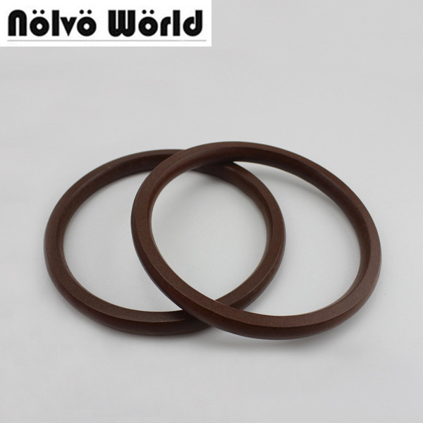 2 Pairs=4 Pieces,13.5cm dark brown wooden round Handles For Sew Bag,Tabular Edge Purse Handle Wood Circle Ring