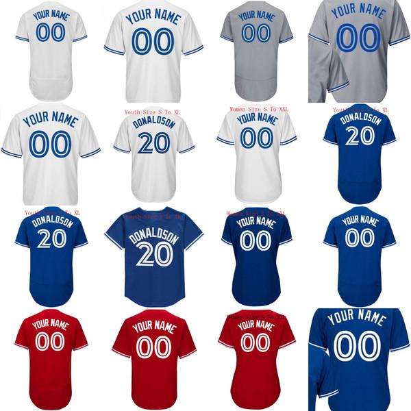 6 Marcus Stroman 12 Roberto Alomar 11 Kevin pilar 20 Josh Donaldson Jerseys mulheres homens Youht camisa de beisebol personalizado