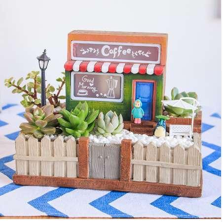 1pcs pots for succulents ,bonsai house building with light planter flowerpot ,cactus desk plant flower pot for home garden