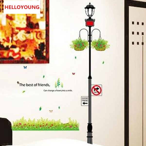 Removable Plastic Telephone Pole Flower Blue Wall Stickers Bedroom Wall Stikers For Kids Room Home Decor Stickers Muraux