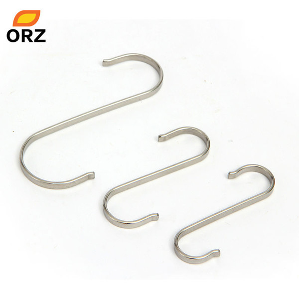 Wholesale- 20pcs Stainless Steels Hooks Kitchen Wall Hanging Clothes Coat Storage Hanger S/M/L Clasp Key Over Door Rack Metal Holder Hook
