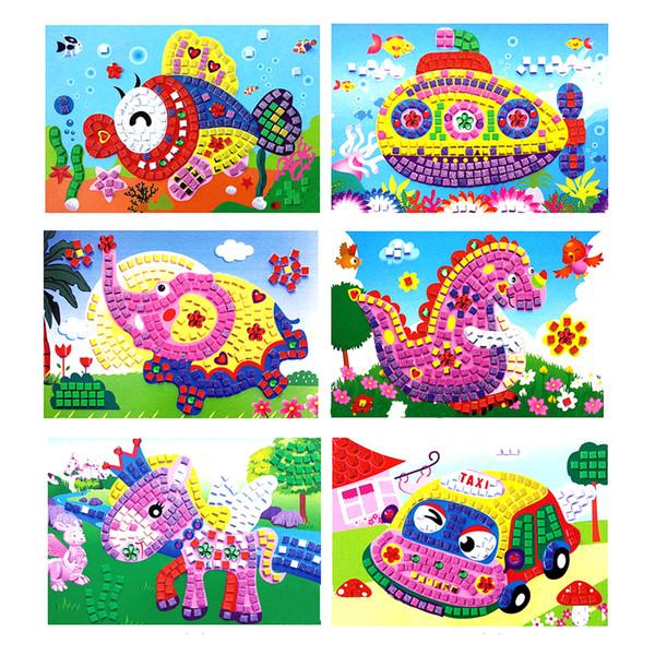 Mix Wholesale 12 Pcs 3D Foam Mosaics Sticky Crystal Art Princess Butterflies Sticker Game Craft Kids Children Gift Intelligent Development