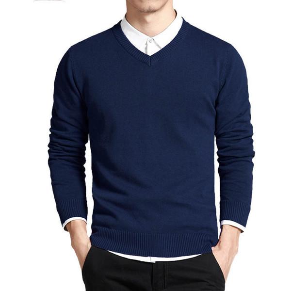 Pamuk Kazak Erkekler Uzun Kollu Kazaklar Dış Giyim Adam V Yaka kazak Tops Gevşek Katı Fit Örme Giyim 8 Renkler Yeni