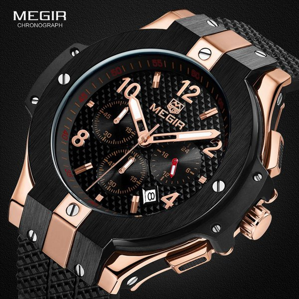 1107de3f1 Megir Men's Chronograph Analogue Quartz Wrist Watches with Silicone Strap 24 -hour Display Sports Wristwatch for Boys2050GBK-1N0 S921