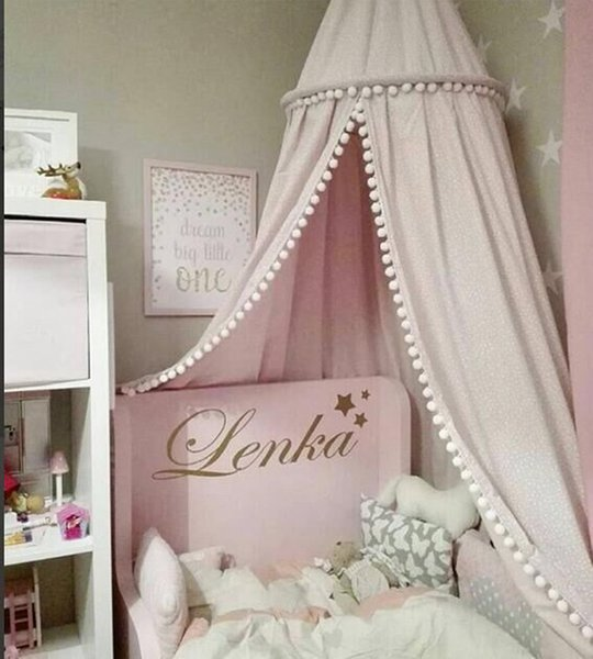 Ins Nordic Cotton Baby Girls Room Decoration Balls Pompom Home Mosquito Net Round Crib Netting Tent Kids Canopy Bed Curtains