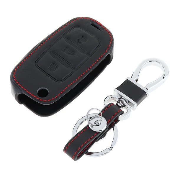 3 Buttons Leather Car Key Cover Protector Holder with Hanging Buckle for Jetta MK6 Tiguan Passat KEY_405