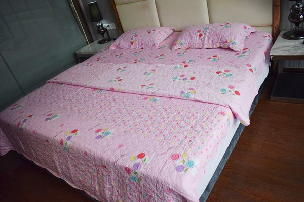 Home Textile Hot New Washed Cotton Quilt Set Printed Quilted Pink Bedspread Duvet Cover Bed Cover Sheets Pillowcase Coverlet Set 3Pcs/4Pcs