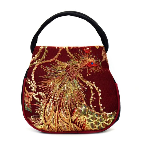 New Fashion Women Canvas Embroidery Ethnic Retro Handbag Small Bag Phone Case Pouch Zipper Canvas Handbags THINKTHENDO