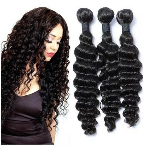 Лучшие продажи глубокие вьющиеся девственные волосы 3 шт. серия бразильский глубокая волна человеческих волос плетет пучки естественный цвет мягкий естественный цвет