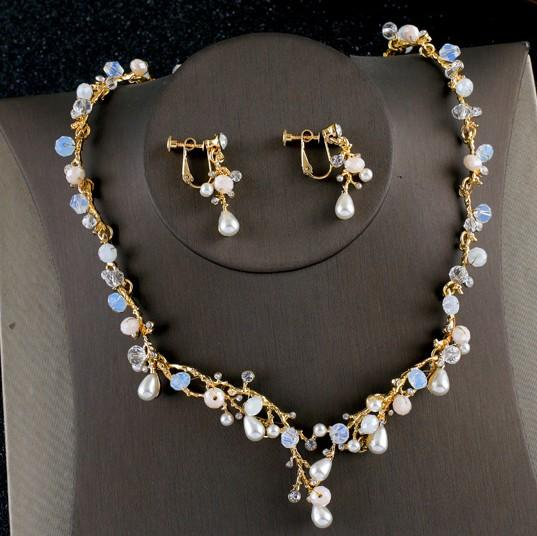 wonderful branch natural pearl diamond lady's necklace earings set (18) dfsd