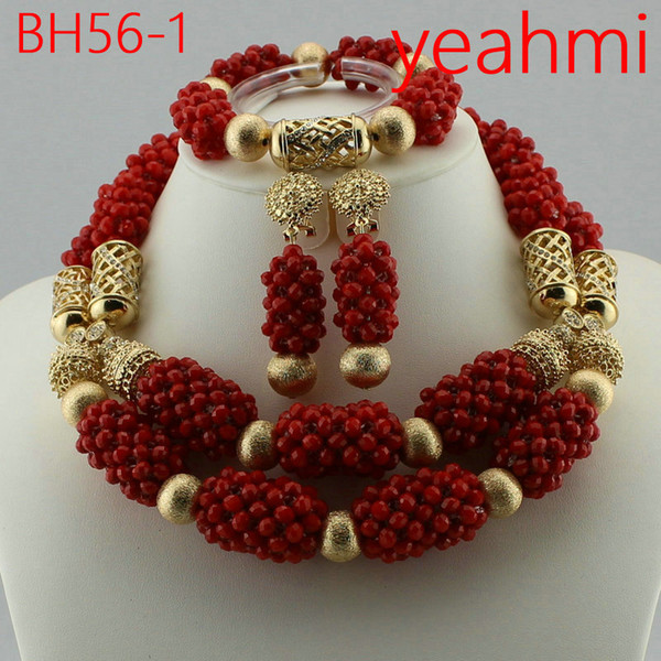 Handmade Coral women necklaces costume jewelry nigerian wedding african Coral beads jewelry set BH56-2