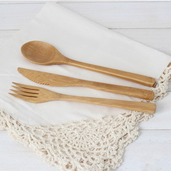 New Arrival Bamboo Tableware 30pcs (10 Set )100% Natural Bamboo Spoon Fork Knife Set Wooden Dinnerware