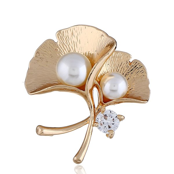 Double Pearls Gingko Flowers Brooch Pins Brooches with Rhinestone Fashion Jewelry Accessory For Women Clothing Costume Decoration