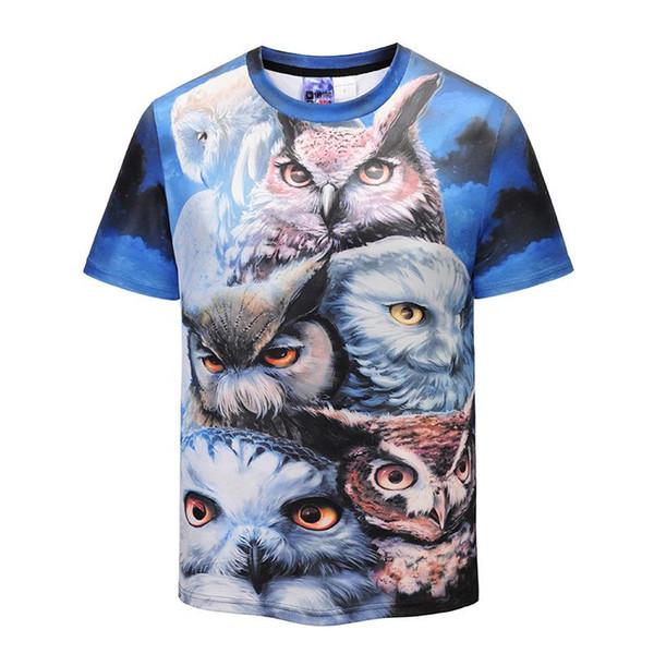 Men's 3 d printing the owl yards T-shirt street youth popular logo short sleeve recreational half sleeve 2018 summer new styles