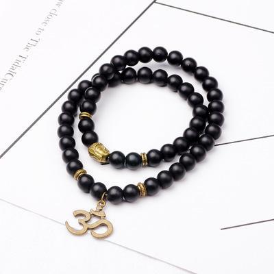 FUNIQUE Novo Símbolo 3D Pulseira Pingente Unisex Moda Étnica Características Buddha Beads Longa Pulseira Acessórios Da Jóia Do Vintage