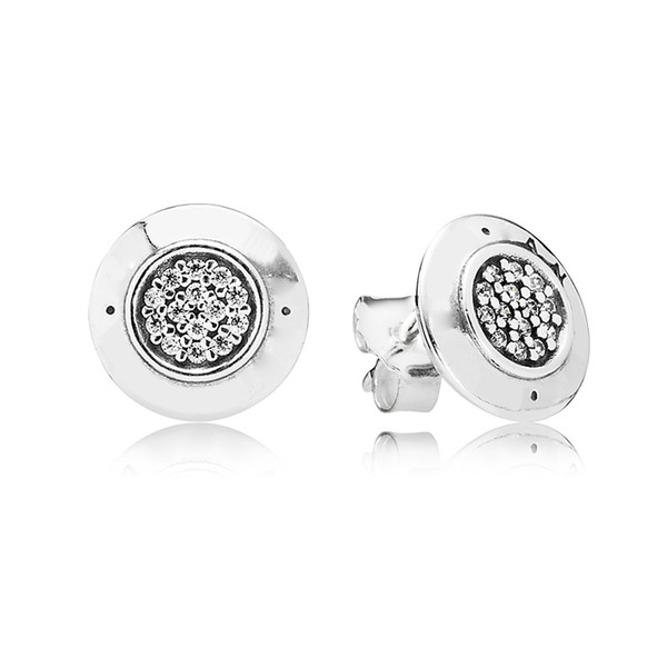 top popular Women's Authentic 925 Sterling Silver EARRING Logo signature with Crystal Stud Earrings for Women Compatible with Pandora Jewelry 2021