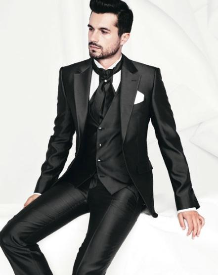 2018 Latest Coat Pant Designs Black Satin Groom Tuxedos 3 Piece Wedding Prom Dress Suits Groomsman Wear(Jacket+Pants+Vest)terno