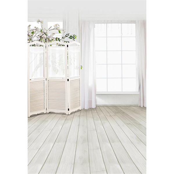 Interior Room Window Photo Background Printed Curtain Flower Tree Wooden Screen Baby Children Wedding Photography Backdrops Wood Floor