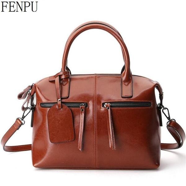 2017 New Genuine Leather Female Bag Leather Handbags Wax Oil Skin Women Messenger Bag High quality European Style Ladies Tote