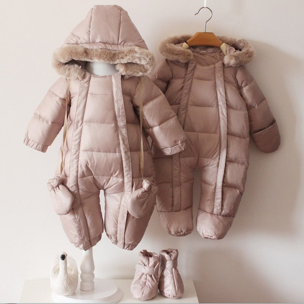Infant Baby Winter Jackets Fashion Newborn Infant Boy Snowsuit 90% Duck Down Coats with Shoes and Gloves Girls Snow Wear