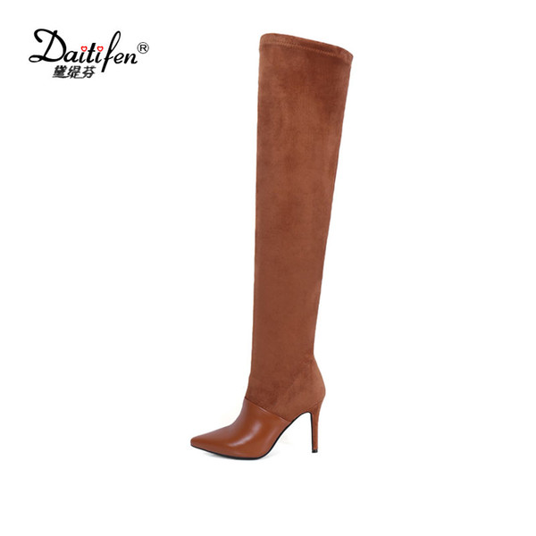 Daitifen Sexy lady womens boots fashion party shoes cow suede leather boots thin heel zip solid over the knee in winter