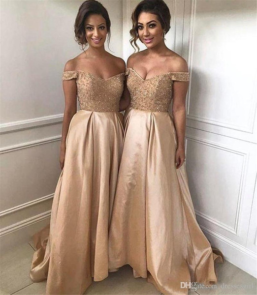 2019 gorgeou long gold bride maid dre e off houlder weep train a line bride maid dre cu tom made imple wedding gue t party gown