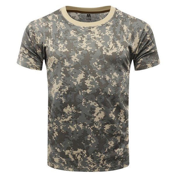 Summer T-Shirt Men Quick Dry Camouflage Short Sleeve O Neck Cotton Tactical T shirt Breathable Combat Camo Tee 8 Colour